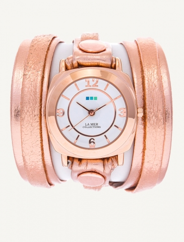 Metallic Rose Gold Layer Wrap Watch | La Mer Collections' Unique Timepieces