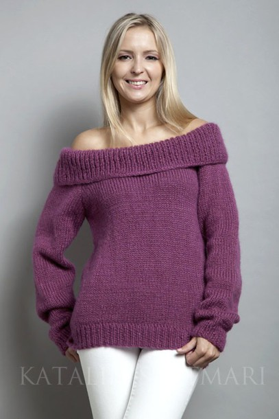 sweater off-shoulder sweater long sleeved sweater raglan sleeved sweater mohair sweater