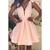 Deep V-Neck Sleeveless Pink A-line Short Prom Evening Dress