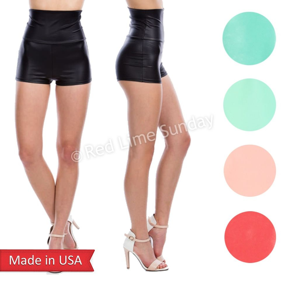 Women Candy Color PU Faux Leather High Waist Fitted Hot Pants Shorts Bottom USA