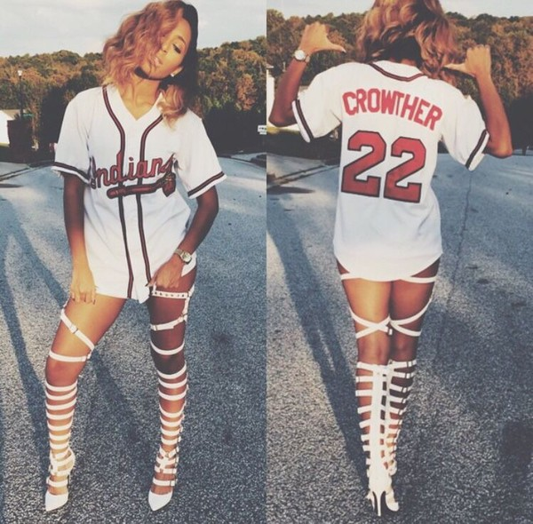 heels shoes gladiators strappy heels white heels shirt baseball jersey jersey dress white t-shirt red words white and red