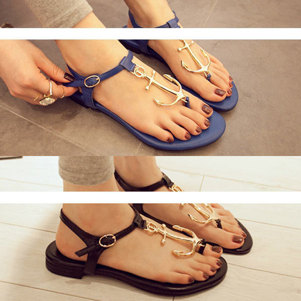 Summer anchor ankle flat sandal womens flip flops metal shoes t strap slipper