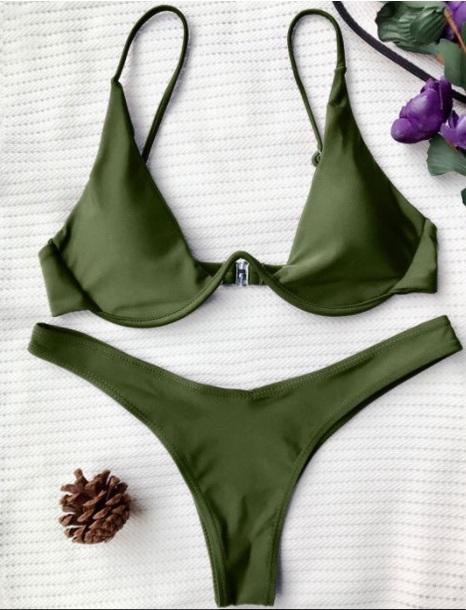 Swimwear Girly Green Olive Green Bikini Bikini Top Bikini