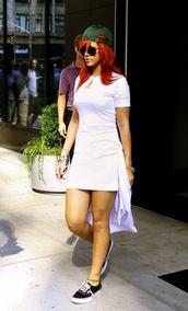 dress,white dress,skater dress,all white everything,sneakers,rihanna
