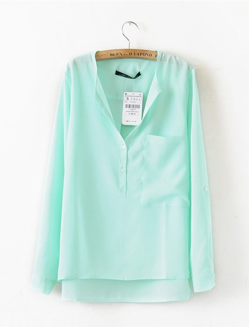 2014 Women's Latest Turquoise Collarless V Neck Long Sleeve Dipped Hem Chiffon Blouse Shirt with Front Pocket Tops-in Blouses & Shirts from Apparel & Accessories on Aliexpress.com