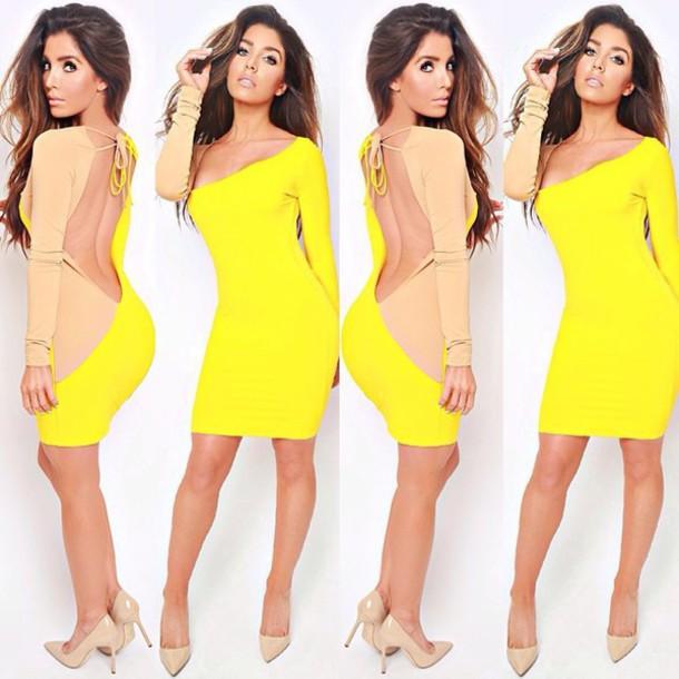 dress party dress sexy dress yellow dress