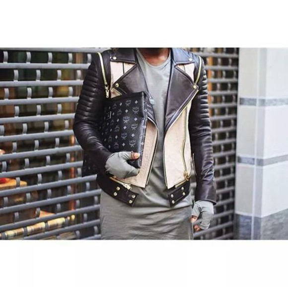 beige menswear jacket kanye west swag west mcm italian leather jacket zip givenchy tisci balmain louis vuitton fendi