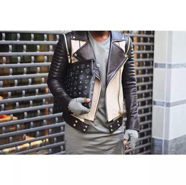 jacket swag kanye west west mcm italian menswear leather jacket beige zip tisci fendi
