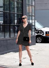 dress,shoes,sunglasses,tumblr,mini dress,polka dots,wrap dress,bag,high heels,heels,black shoes