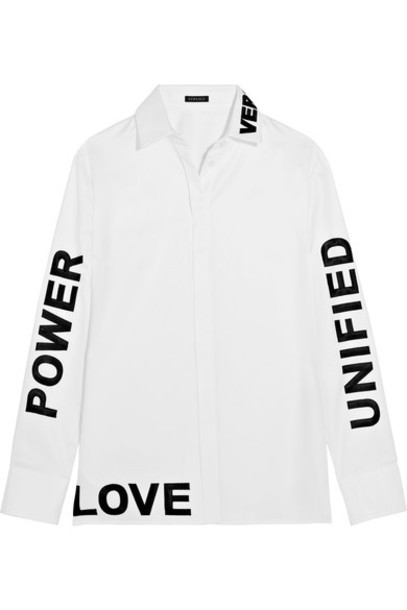 VERSACE shirt embroidered white cotton top