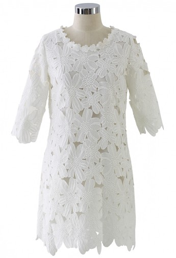 Whole floral crochet shift dress in white