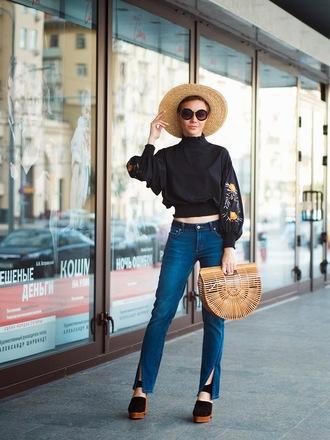 gvozdishe blogger blouse jeans sunglasses shoes bag hat black blouse sun hat cult gaia bag pumps