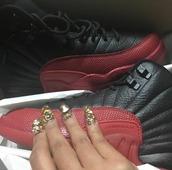 shoes,cardi b,jordans,jumpman,customized,black,red,new york city,yasss,slay,jumpman jumpman jumpan,micheal jordan,love n hip hop,$$$$,foreva