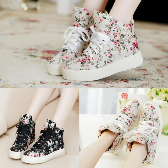 Womens new comfort floral printed lace up high tops fashion sneakers sport shoes