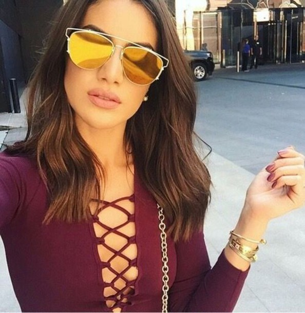 sunglasses,dior sunglasses,camila cabello,mirrored sunglasses,top,lace up top,burgundy top,youtuber,bracelets,nude lipstick