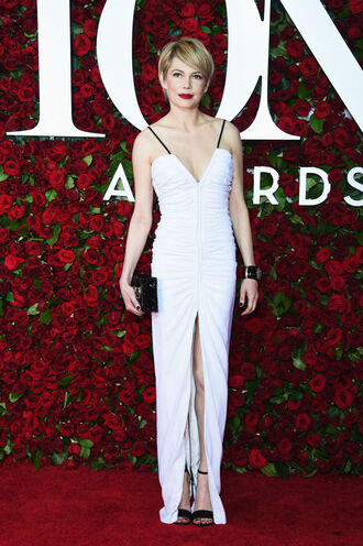 dress gown prom dress wedding dress sandals tony awards michelle williams white dress slit dress