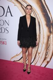 dress,jacket,blazer,blazer dress,black dress,pumps,olivia culpo,feather dress,shoes