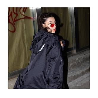 jacket black jacket sunglasses red sunglasses earrings silver earrings jewels