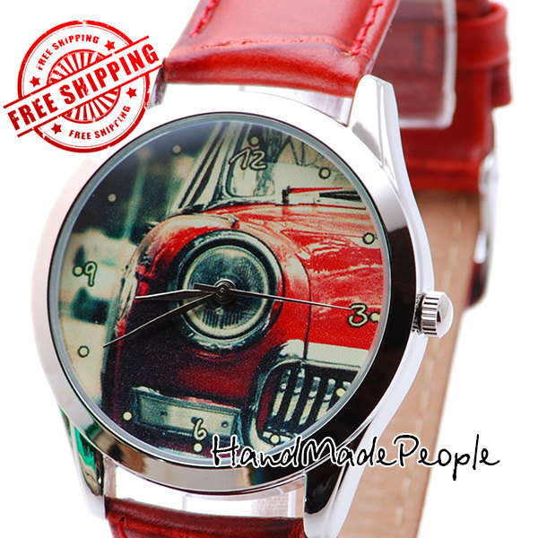 Retro Car Watch, Сlassical Unisex Wrist Watch, Anniversary Present for Him, Unusual Gifts Ideas, Gifts for Her, Gift for Man - Free Shipping