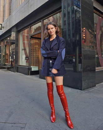 shoes tumblr boots red boots vinyl over the knee boots streetstyle blazer corduroy blue blazer skirt mini skirt