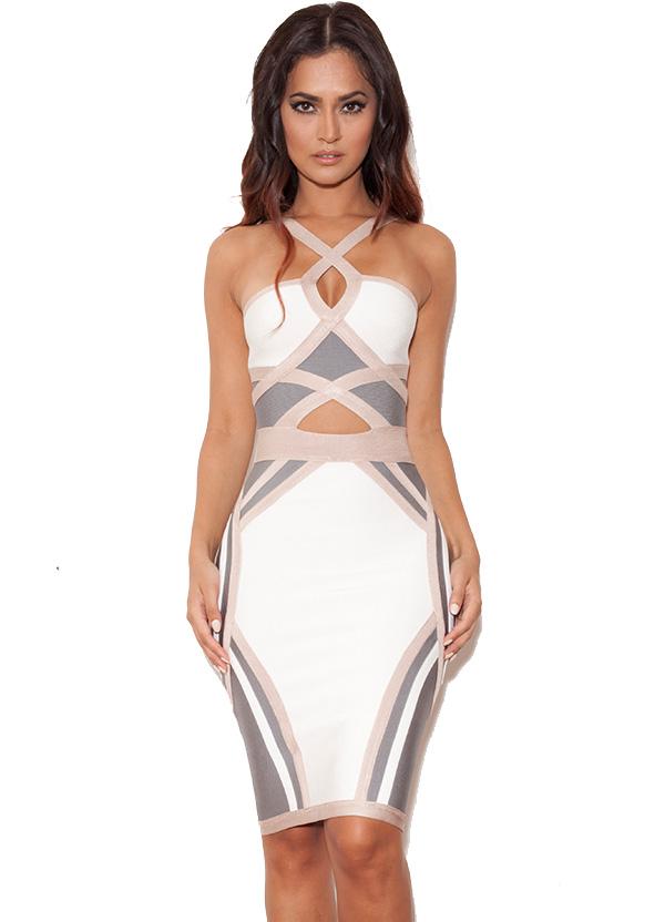Bandage Dresses : 'Saskia' Nude, White and Grey Halterneck Bandage ...