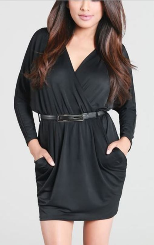 Black Belted Long Sleeve Faux Wrap Dress