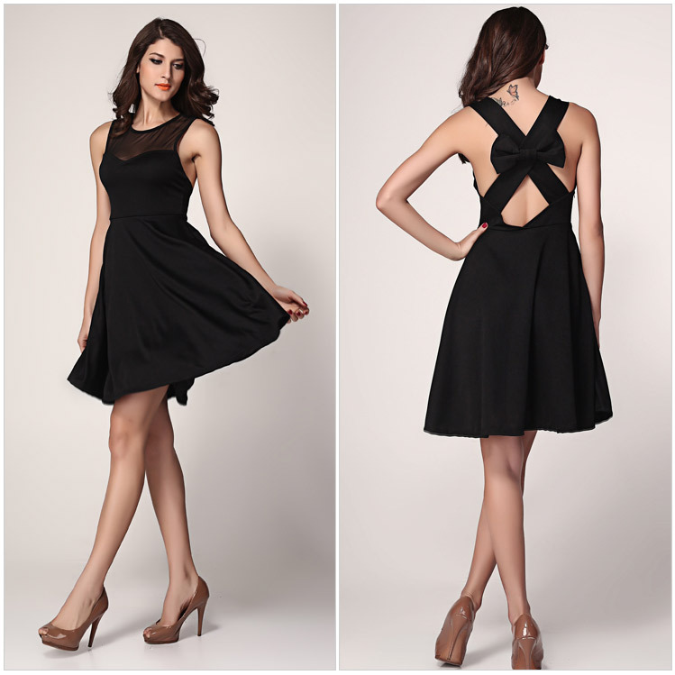 Online Shop Free Shipping 2014 Small Fresh Parker Dresses Sexy Sleeveless Round Neck Halter Back Straps Cross Bow Dress|Aliexpress Mobile