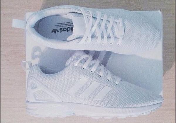 shoes adidas zx flux white perfect