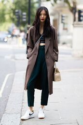 pants,casual,streetstyle,outfit idea,crop tops,long coat,trench coat,white bag,nike shoes,green pants,high waisted,elegant