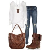 bag,boots,ripped jeans,necklace,white top,shirt,clothes,leather bag,blouse,shoes,combat,brown,brown combat boots,brown shoes,brown boots,jeans,white,brown leather boots,denim,long sleeves,cute,jewels,white shirt,frayed jeans,faded jeans,blue jeans,slouchy,jacket,brown leather jacket,top