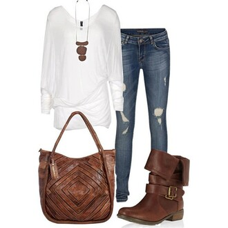 shoes white brown brown leather boots bag leather bag ripped jeans jeans denim long sleeves necklace cute jewels blouse
