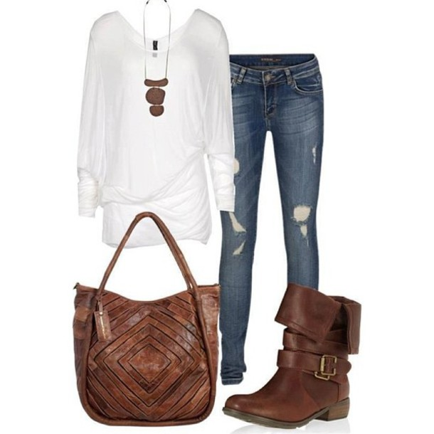 bag boots ripped jeans necklace white top shirt clothes leather bag blouse shoes combat brown brown combat boots brown shoes brown boots jeans white brown leather boots ripped jeans denim long sleeves cute jewels white shirt frayed jeans faded jeans blue jeans slouchy jacket brown leather jacket top