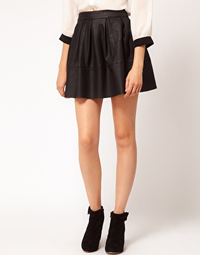 ASOS | ASOS Skater Skirt in Leather Look at ASOS