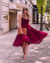 visions of vogue,blogger,dress,shoes,bag,jewels,sunglasses,red dress,fall dress,midi dress