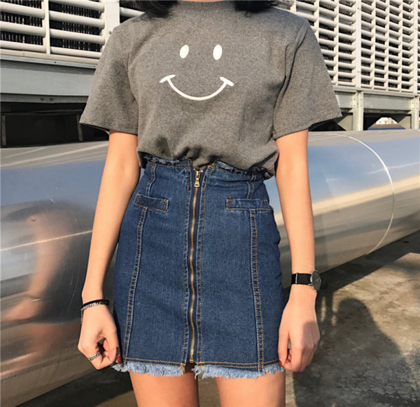 Skirt Denim A Line Retro Vintage Dress Tumblr Korean