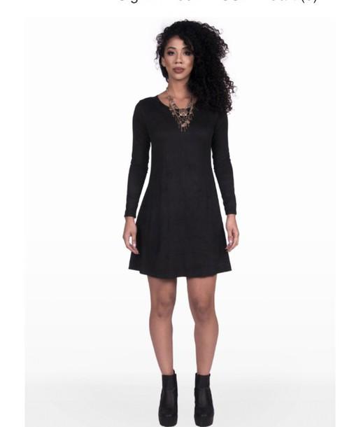 dress, dress, suede dress, suede, black dress, statement