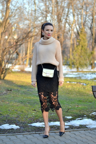 my silk fairytale blogger turtleneck knitted sweater lace skirt black skirt