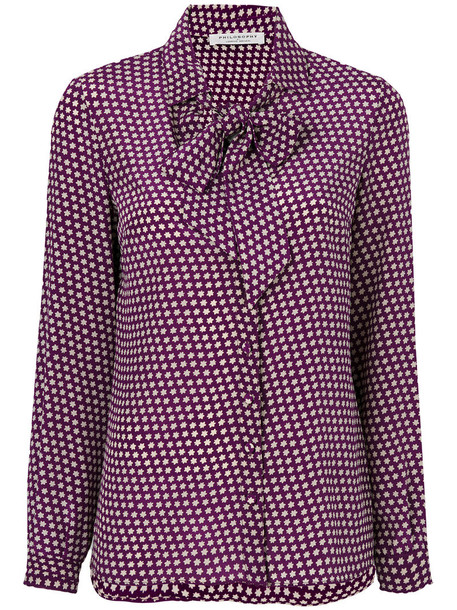 Philosophy di Lorenzo Serafini blouse bow women silk purple pink top