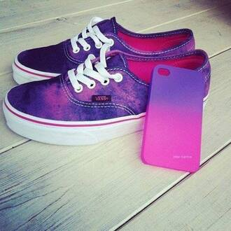 shoes sneakers vans vans off the wall hipster purple pink iphone case oh lord phone cover cool swag sweet adorable jewels so good pink and purple tie dye vans