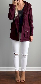 coat,burgundy,parka,autumn jacket,pockets,warm,casual
