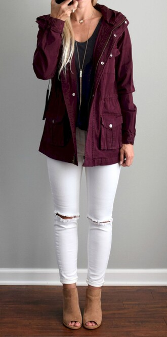 coat burgundy parka autumn jacket pockets warm casual