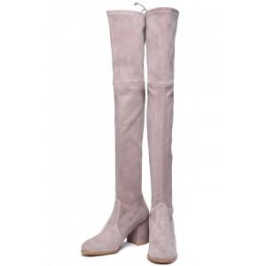 Women's Suede Block Heel Thigh High Strech Boots in Blush