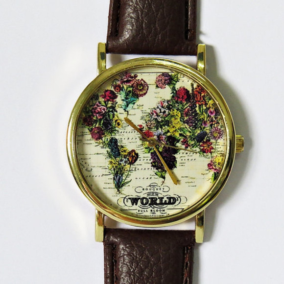 jewels clock world floral map watch freeforme watch etsy handmade freeforme watch