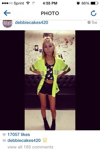 t-shirt neon yellow lil debbie bright black white tank top shorts