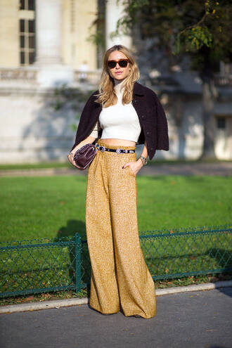 pants fall outfits fashion week 2014 streetstyle wide-leg pants