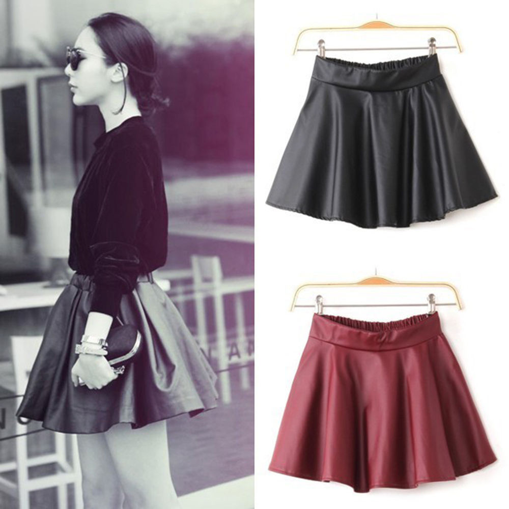 Womens Flared Faux Leather Pleated High Waist Skater Black Mini Skirt Dress O | eBay