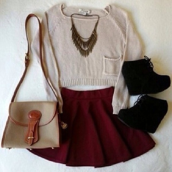 sweater necklace jewelry wedges shoes black wedges black wedges high heels skirt burgundy burgundy skirt purse jewels bag back to school