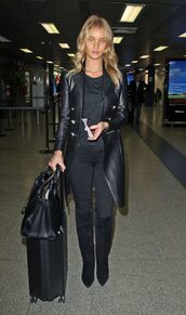 coat,jeans,boots,rosie huntington-whiteley,all black everything,fall outfits,model off-duty