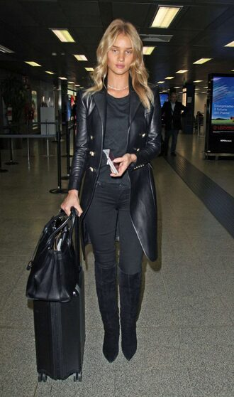 coat jeans boots rosie huntington-whiteley all black everything fall outfits model off-duty