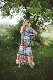 cara loren,blogger,dress,jacket,shoes,jewels,spring outfits,maxi dress,printed dress,denim jacket